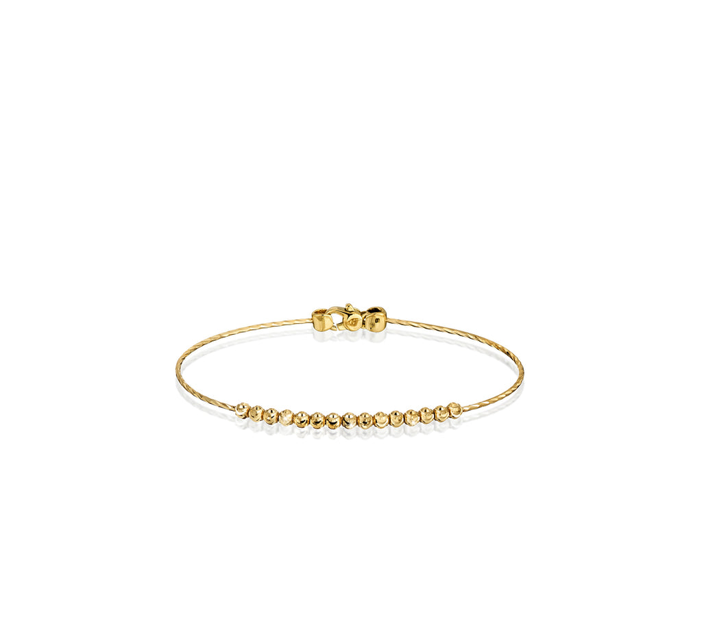 18k Yellow Gold 3mm Classic Moon Bead Bangle Bracelet