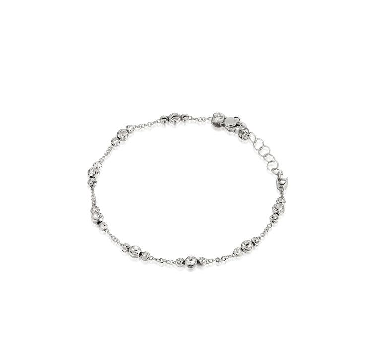 18k White Gold 3-4mm ADA Moon Bead Bracelet