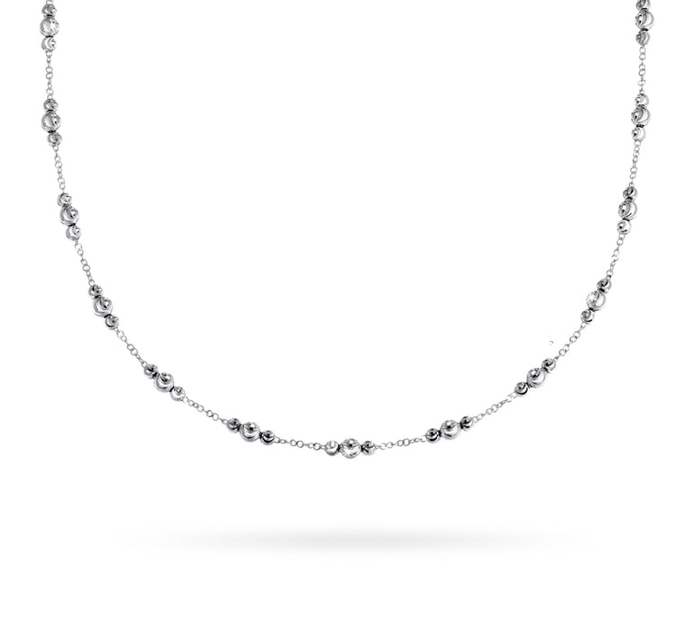 18k White Gold 3-4mm ADA Moon Bead Necklace