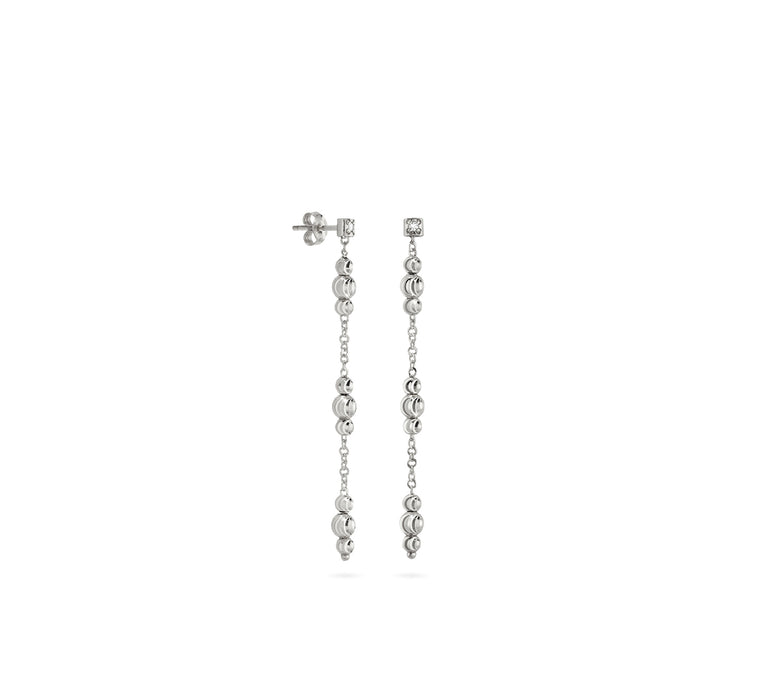 18k White Gold 3-4mm ADA Moon Bead Drop Earrings