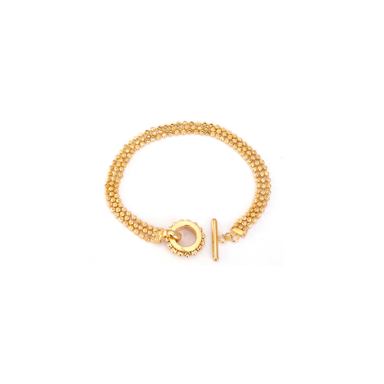 18k Yellow Gold 3 Row Dora Toggle Bracelet
