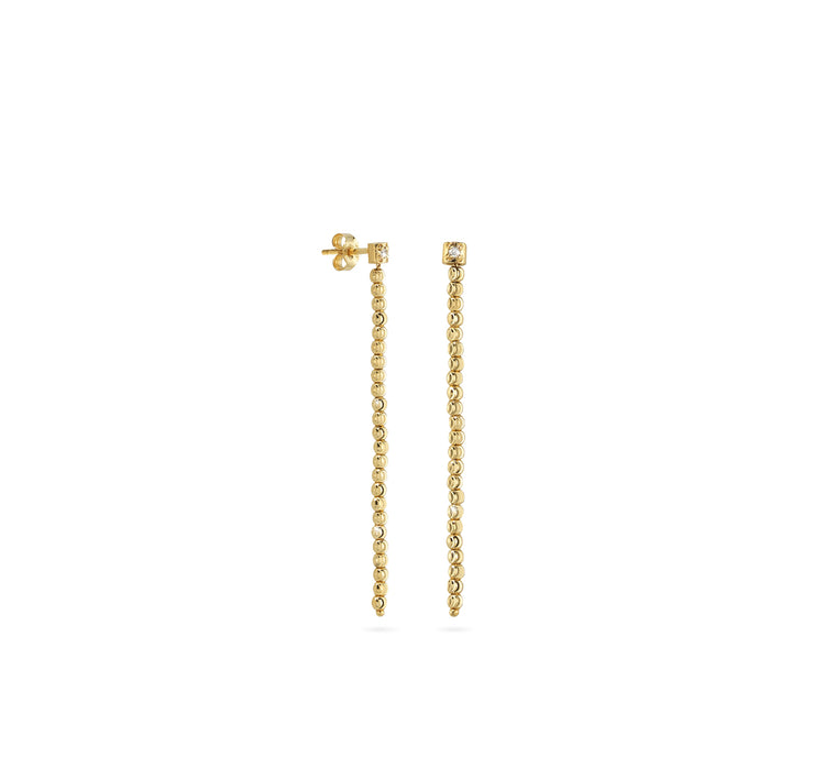 18k Yellow Gold 2mm Single Classic Moon Bead Drop Earrings
