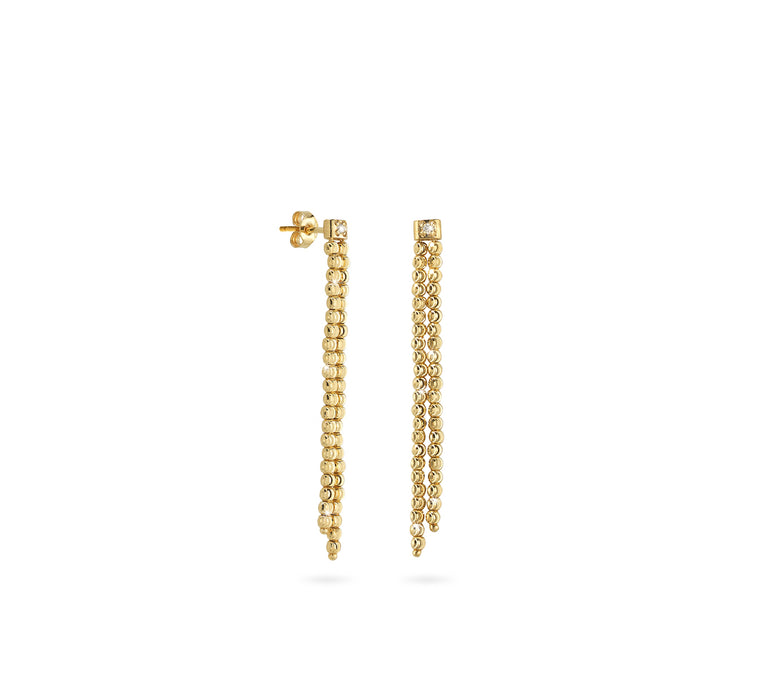 18k Yellow Gold 2mm Double Classic Moon Bead Drop Earrings