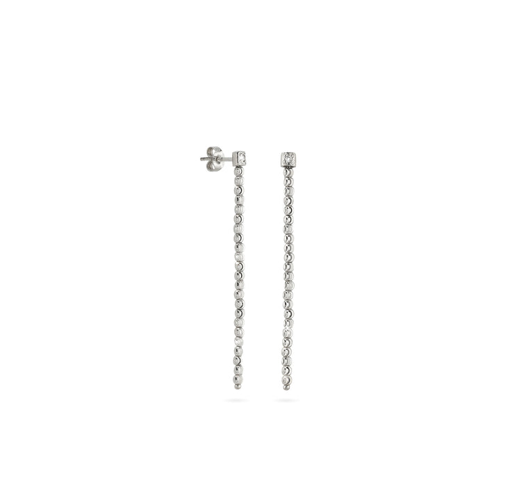 18k White Gold 2mm Single Classic Moon Bead Drop Earrings