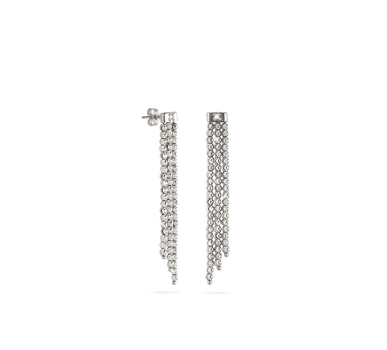 18k White Gold 2mm Triple Classic Moon Bead Drop Earrings