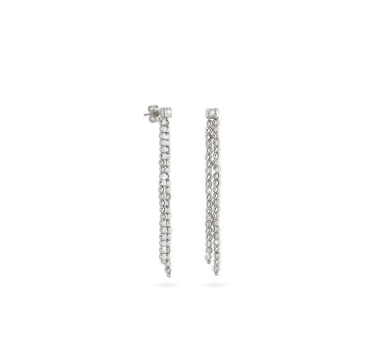 18k White Gold Double 2mm Classic Moon Bead Drop Earrings