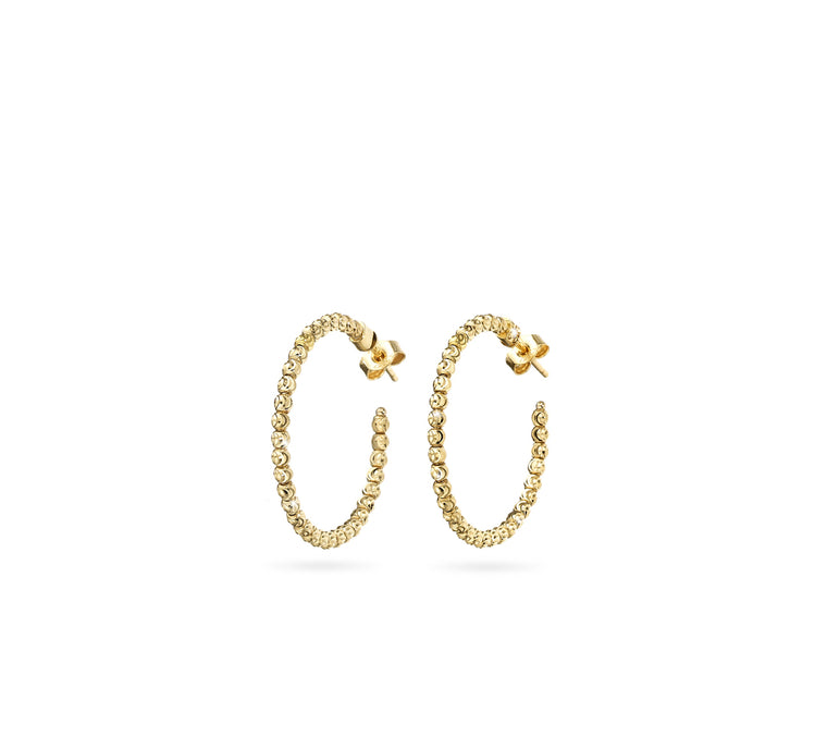 18k Yellow Gold 25mm Classic Moon Bead Hoop Earrings