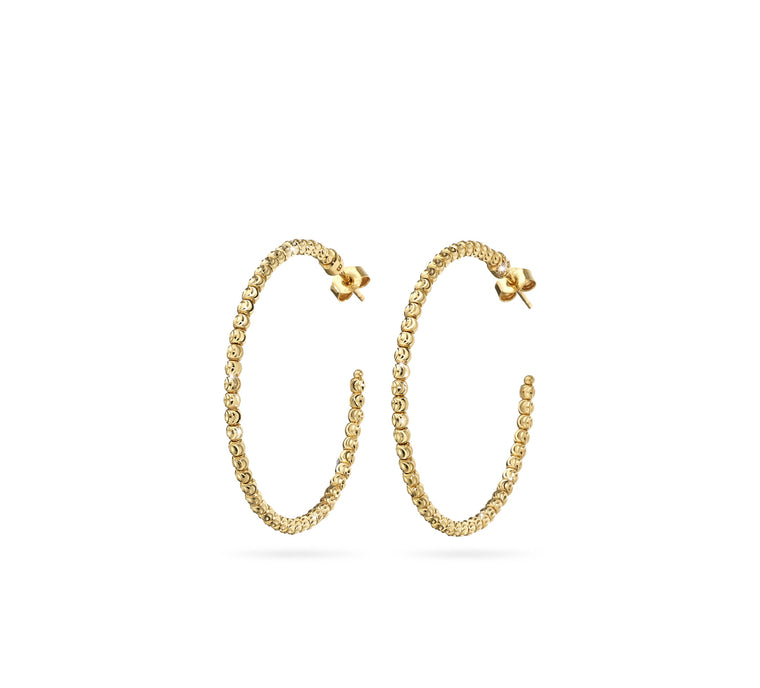 18k Yellow Gold 35mm Classic Moon Bead Hoop Earrings