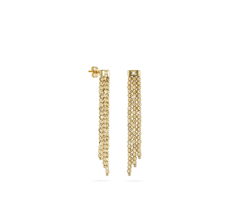18k Yellow Gold 2mm Triple Classic Moon Bead Dop Earrings