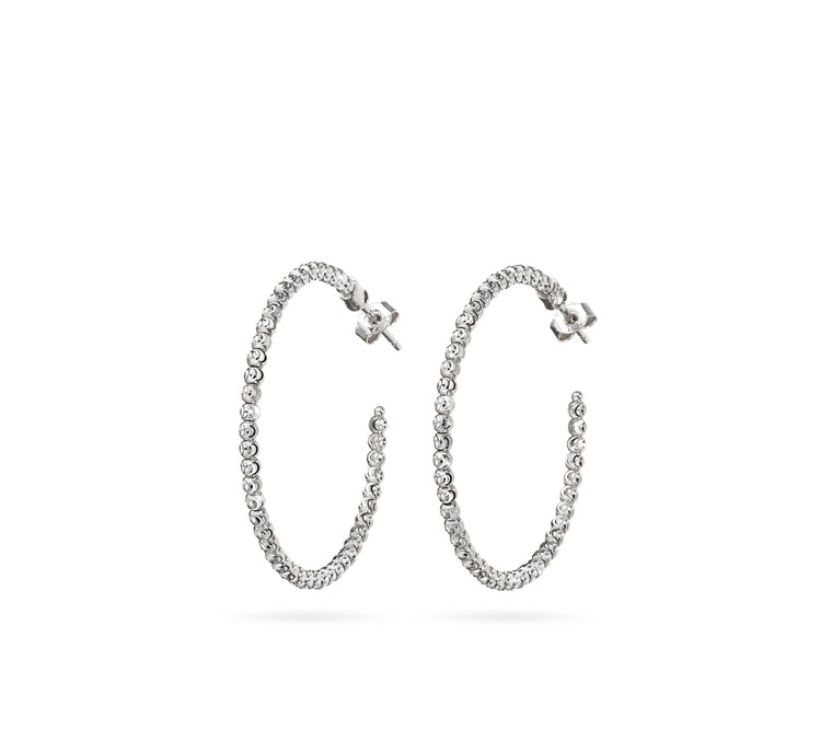 18k White Gold 35mm Classic Moon Bead Hoop Earrings