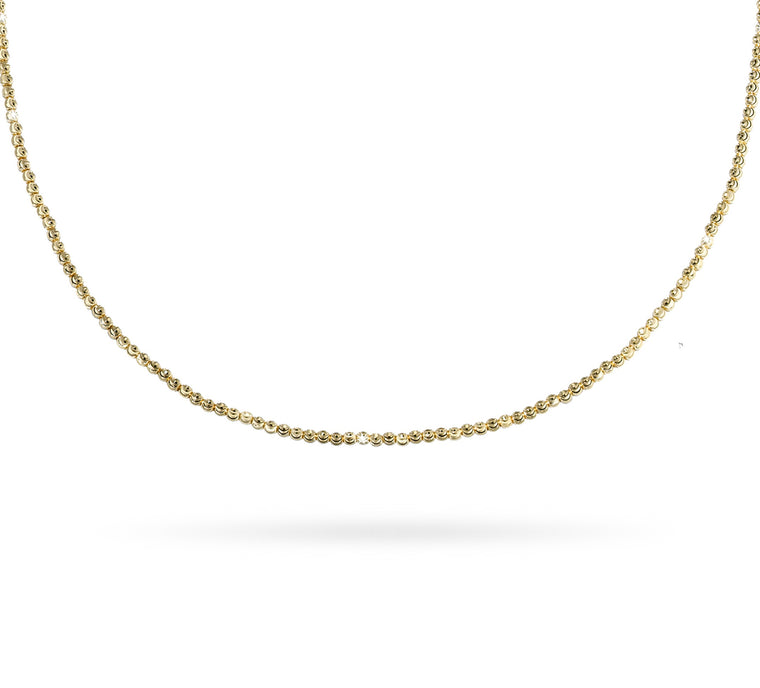 18k Yellow Gold 2mm Classic Moon Bead Necklace