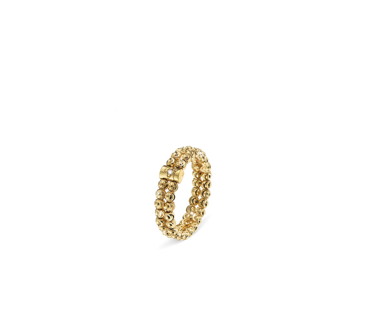 18k Yellow Gold 2.5mm 2 Row Moon Bead Ring