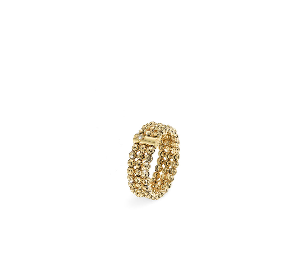 18k Yellow Gold 2.5mm 3 Row Moon Bead Ring