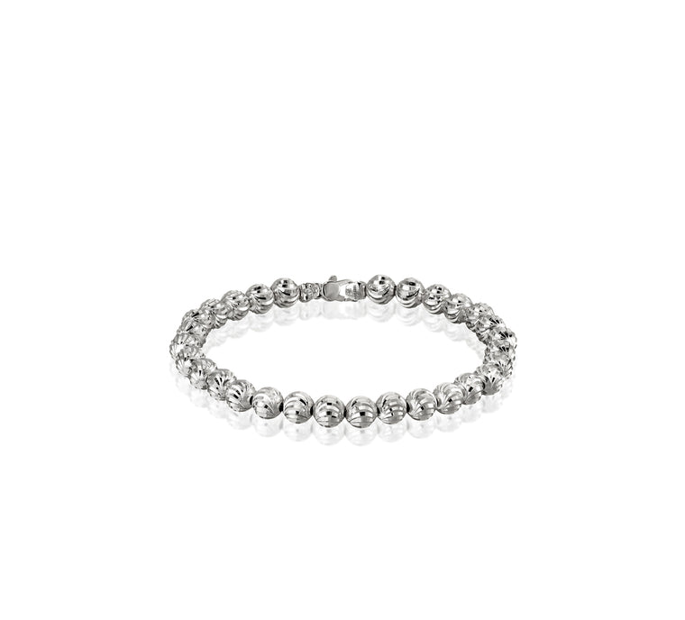 18k White Gold 6mm Classic Moon Bead Bracelet