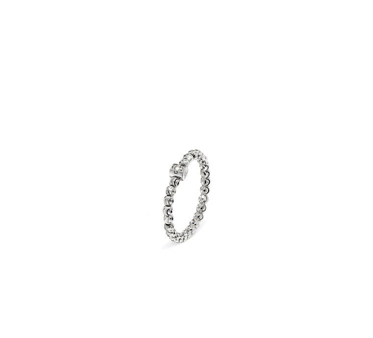 18k White Gold 2mm Classic Moon Bead Ring
