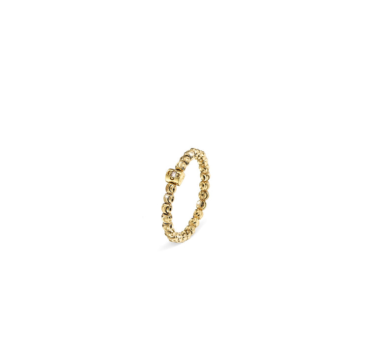 18k Yellow Gold 2mm Classic Moon Bead Ring
