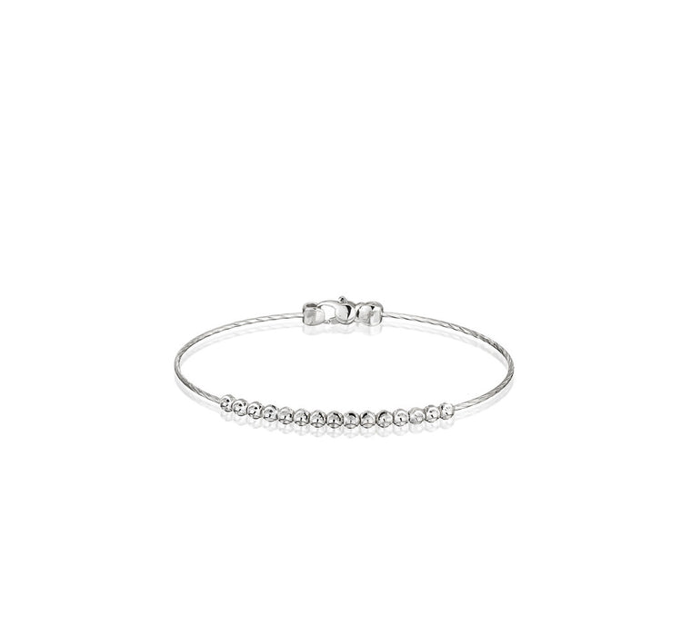 18k White Gold 3mm Moon Bead Classic Bangle Bracelet