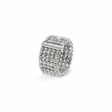 18k White Gold 2.5mm 5 Row Moon Bead Ring
