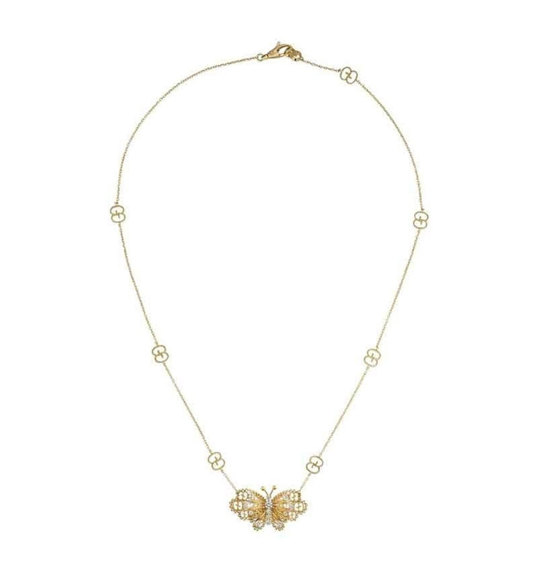 18K Yellow Gold .26ct Diamond Butterfly & GG Motif Necklace