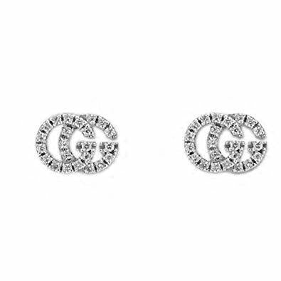 18K White Gold Extra Small .10CT Diamond Pave GG Studs
