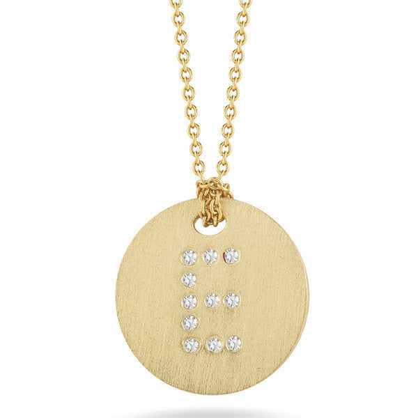 18K Yellow Gold Diamond Initial E Disc
