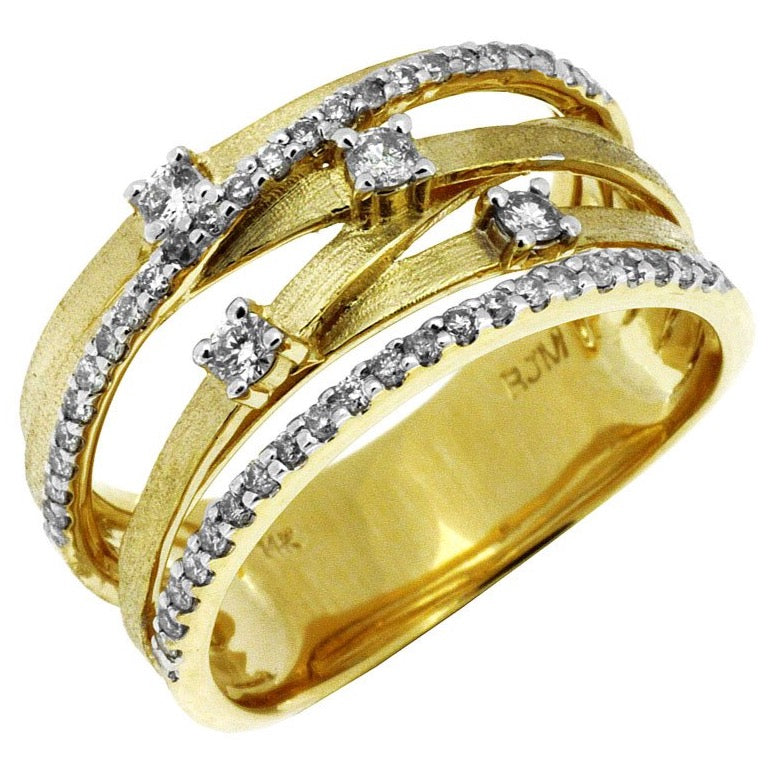 14k Yellow Gold Diamond 6 Row Contemporary Band