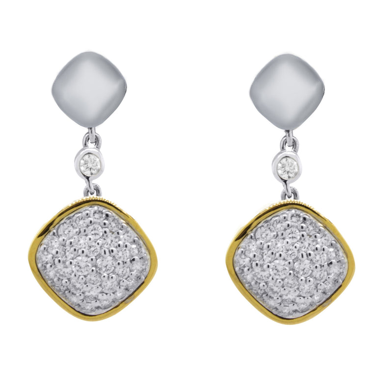 Sterling Silver Pave Diamond Cushion Drop Earrings