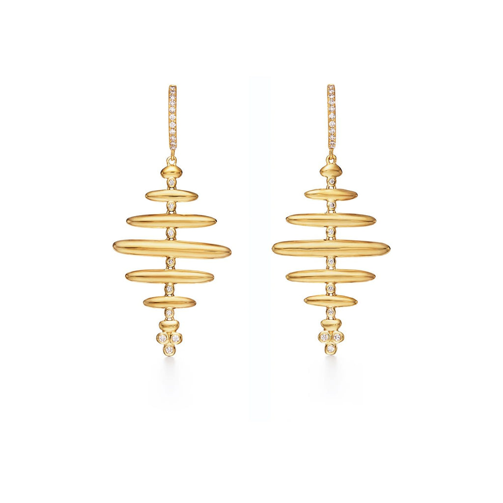 18k Yellow Gold Honeycomb Drop Earrings