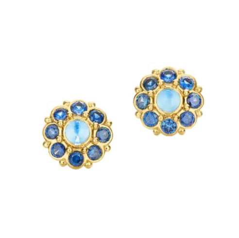 18k Yellow Gold Stella Blue Moonstone & Blue Sapphire Stud earrings