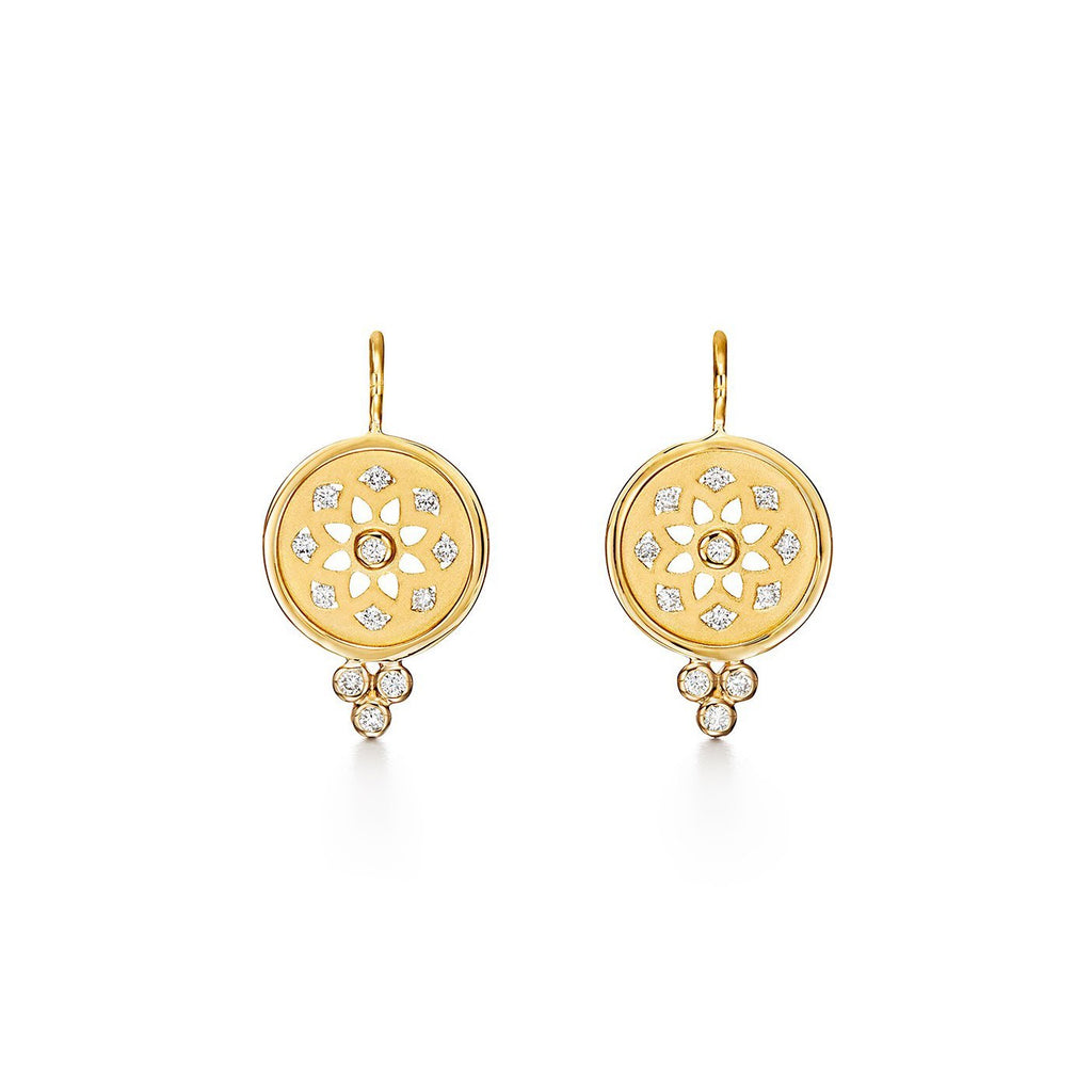 18k Yellow Gold Mandala Cutout Diamond Earrings (.48ct)