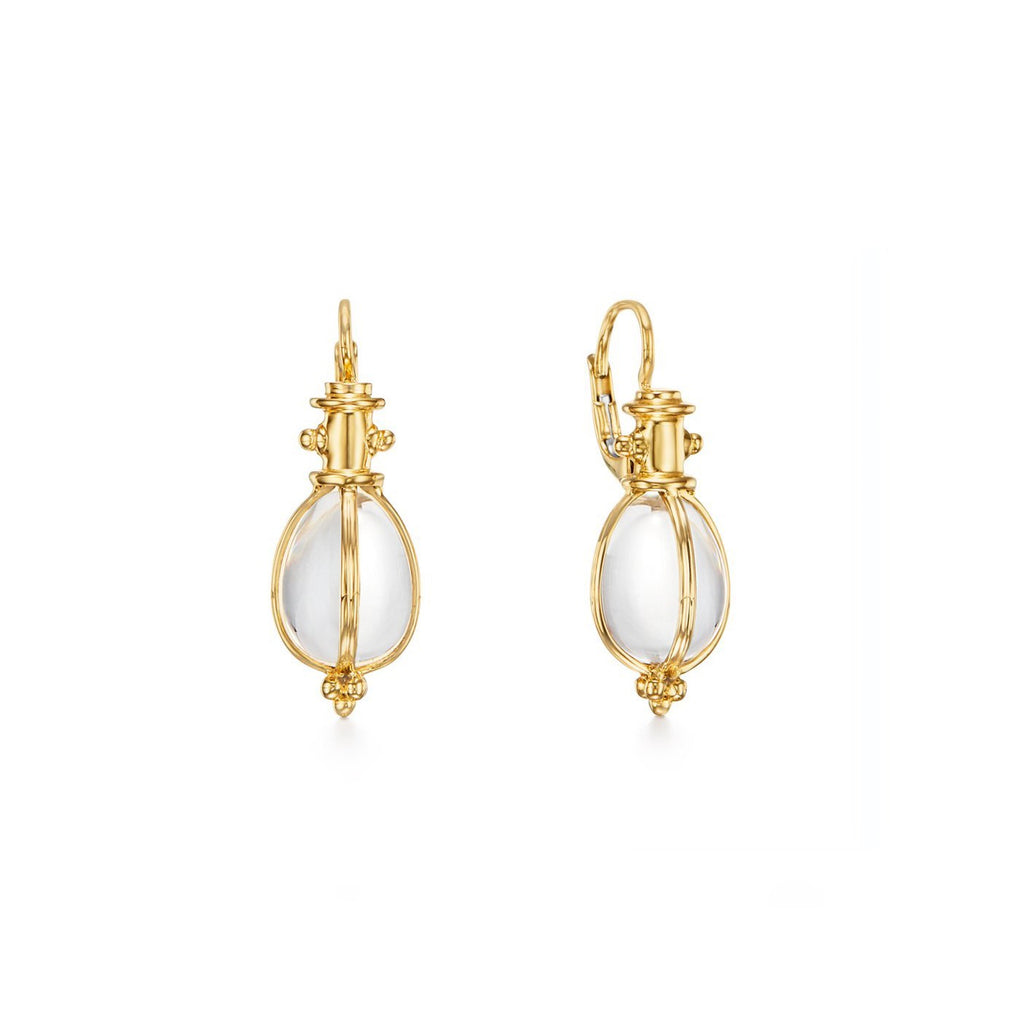 18k Yellow Gold Crystal Egg Amulet Earrings