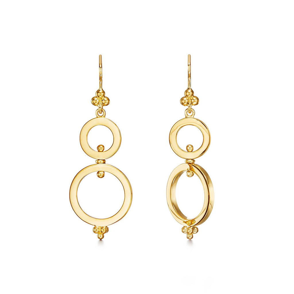 18k Yellow Gold Double Rings Spin Earrings
