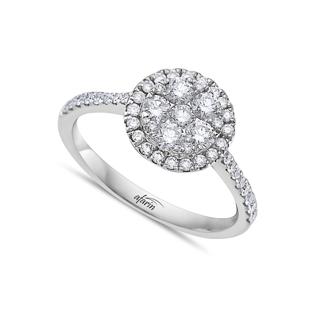 18k White Gold Diamond Cluster With Diamond Shank Ring (.34ct)