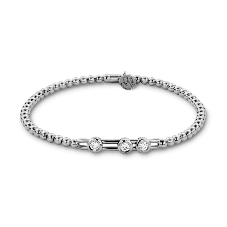 18k White Gold Stretch Bracelet With 3 Station Sliding Diamonds (.91ct G Vs)