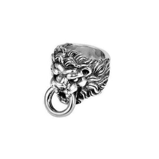 Sterling Silver Lion Head Ring Sz 12 (king Baby)