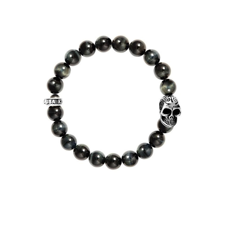 Blue Tiger Eye 10MM Day of the Dead Bracelet (King Baby)
