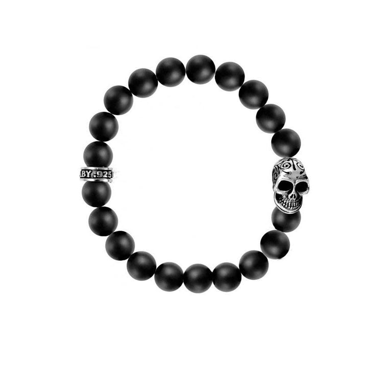 Black Onyx 10MM Day of the Dead Bracelet (King Baby)
