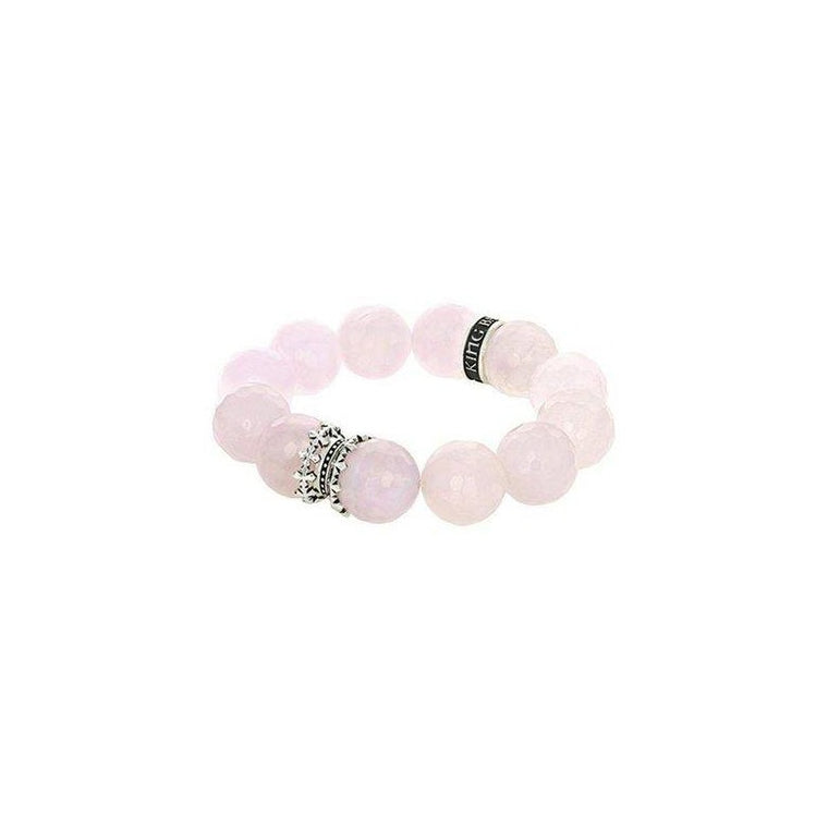Sterling Silver 16MM Rose Quartz Bracelet