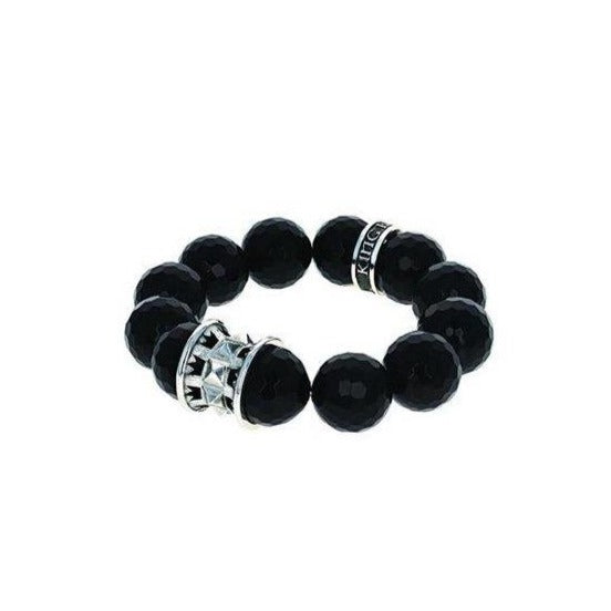 Black Faceted Agate 16MM Beaded Bracelet (King Baby)