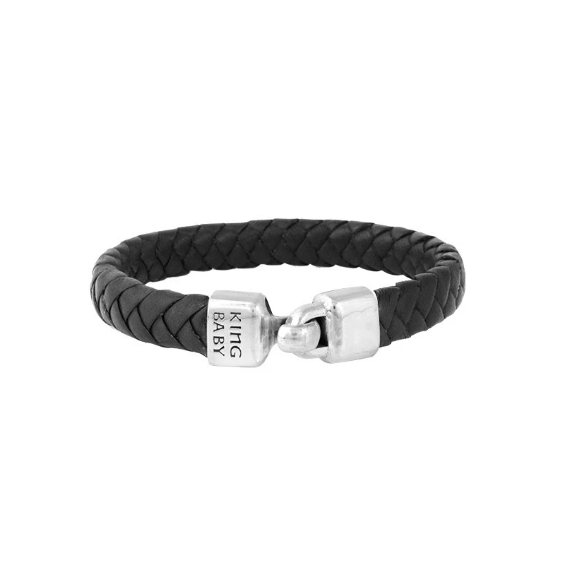 Sterling Silver Braided Leather Bracelet With Hook Clasp (King Baby)