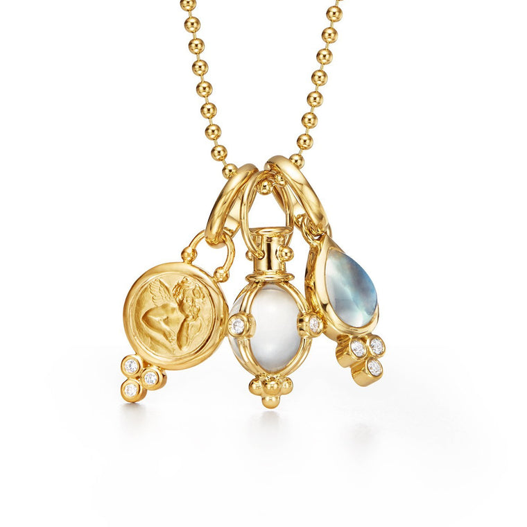 18k Yellow Gold 3 Charm (angel, Amulet & Moonstone) Necklace & Chain