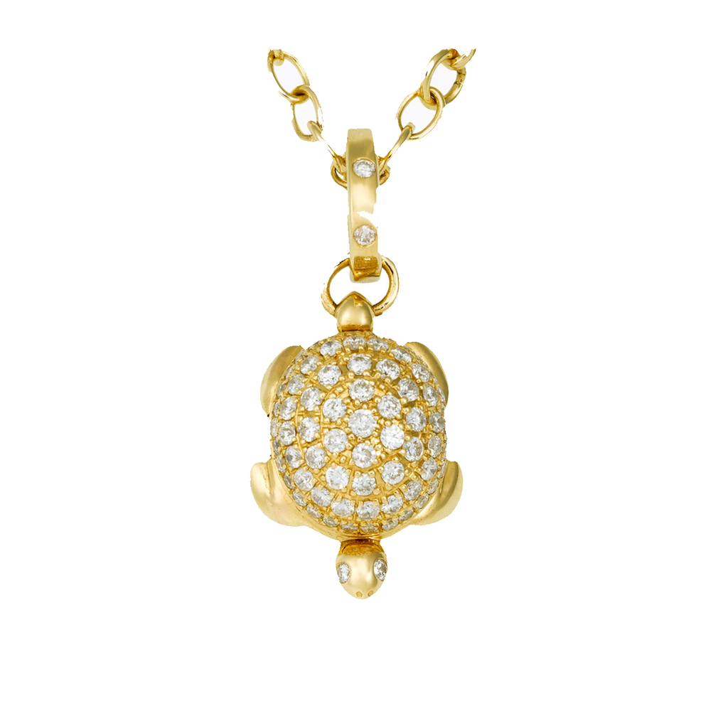 18k Yellow Gold Diamond Pave Turtle Locket