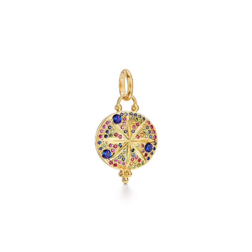 18k yellow Gold Large Mixed Sapphire Sorcerer Pendant