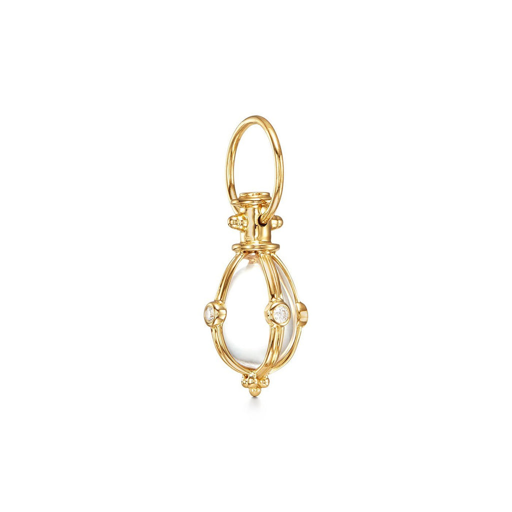 18k Yellow Gold Crystal Egg Amulet With Diamond Pendant (.24ct)