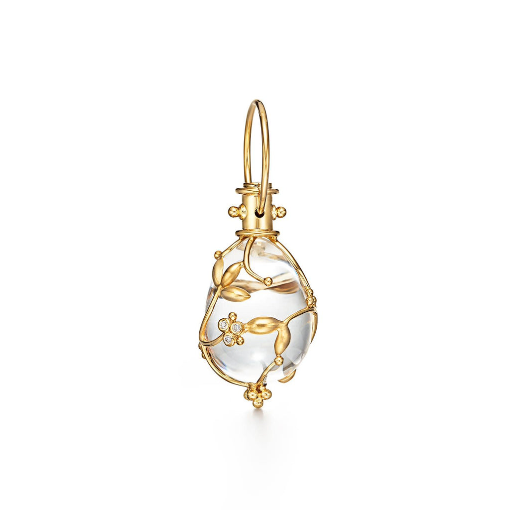 18k Yellow Gold Medium Diamond & Vine Crystal Amulet Pendant