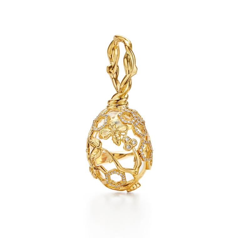 18k Yellow Gold Medium Diamond Beehive Pendant
