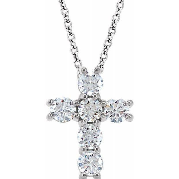 14k White Gold Diamond Cross Pendant Necklace (.75ct)