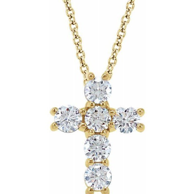 14k Yellow Gold Diamond Cross Pendant Necklace (.75ct)