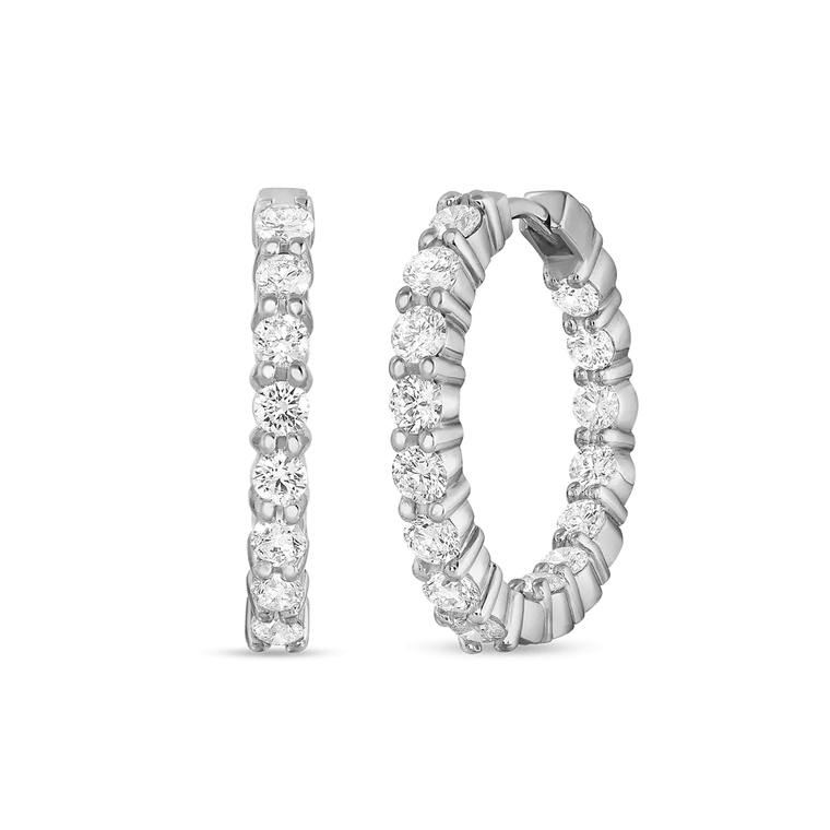 18k White Gold 2.36ct In & Out Hoops