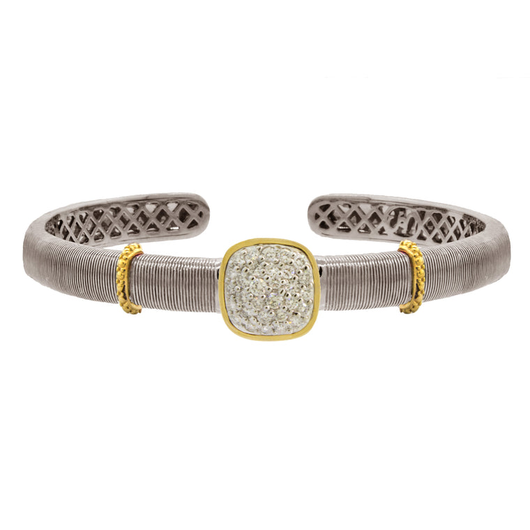 Sterling Silver & 18k Yellow Gold Pave Diamond Cuff Bracelet (.35ct)
